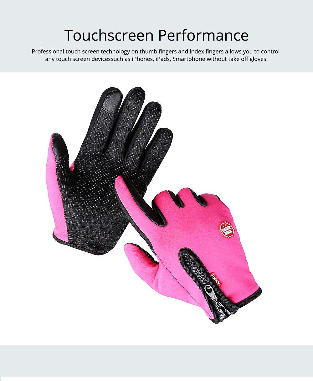 Winter Gloves PU Warm Waterproof Anti-skid Touchscreen Zipper Gloves for Running Hiking Climbing Skiing for Men Women 5