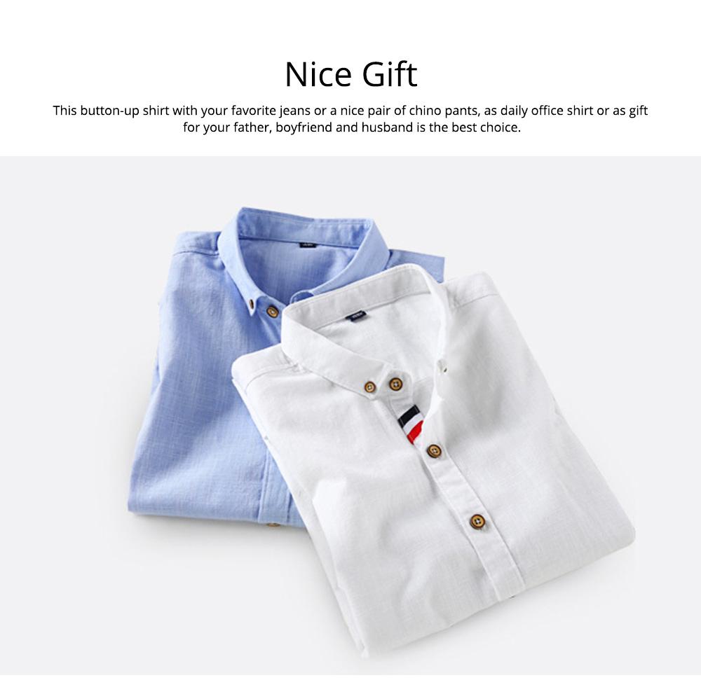 Mens Linen Shirt Short Sleeve Banded Collar Casual Shirts Regular Fit Button Down T-shirts 5