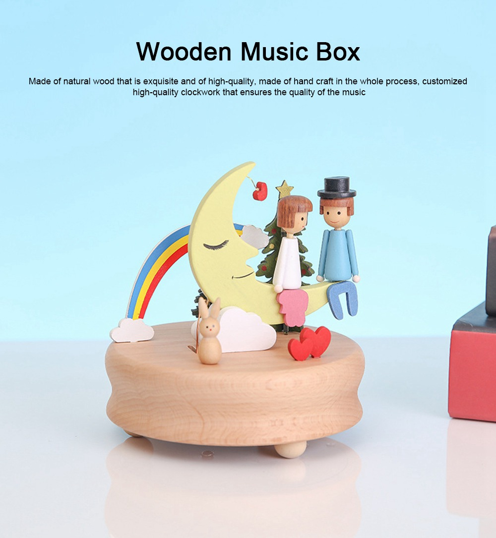 Wooden Music Box, Handware Wood Craft Household Decoration for Valentine Couple Lover Gifts Presents 0
