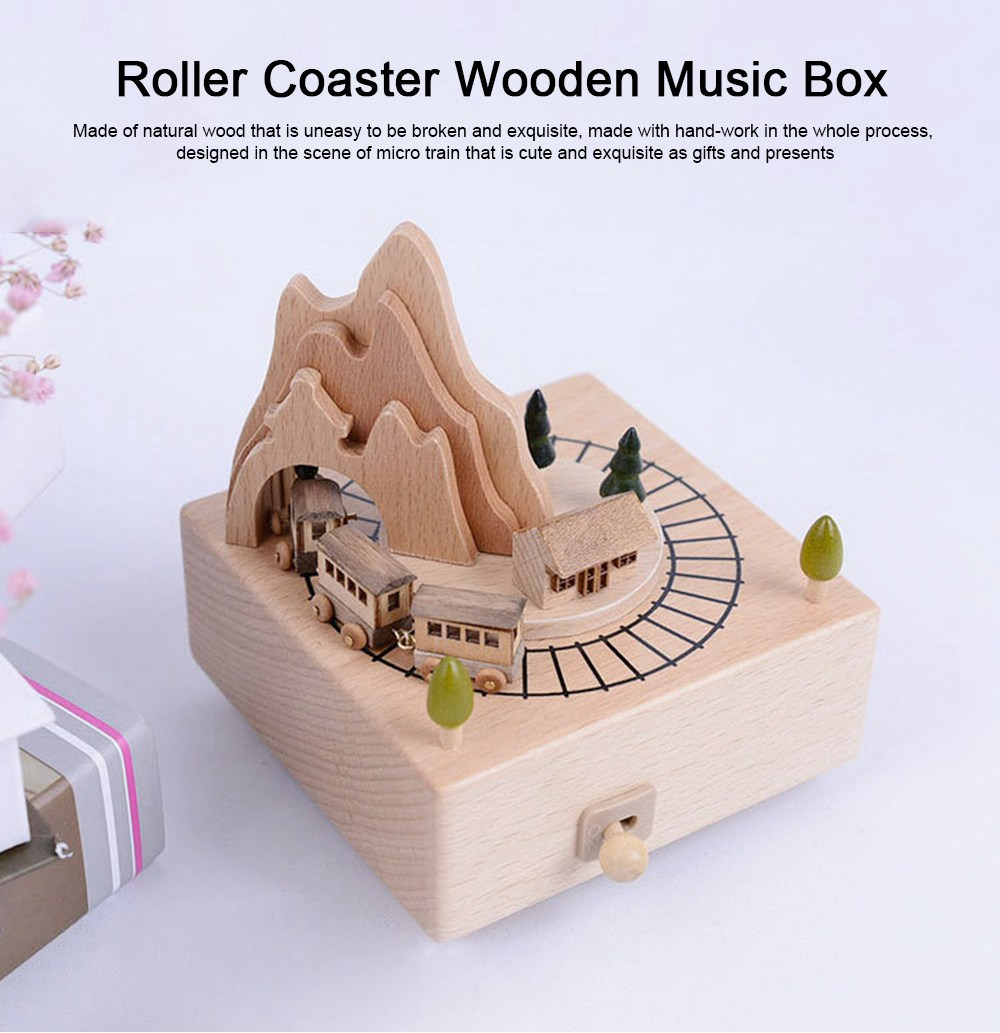 Creative Roller Coaster Wooden Music Box, Hand-made Wood Ware, Gifts Presents Ideal for Girlfriend Children Kids 0