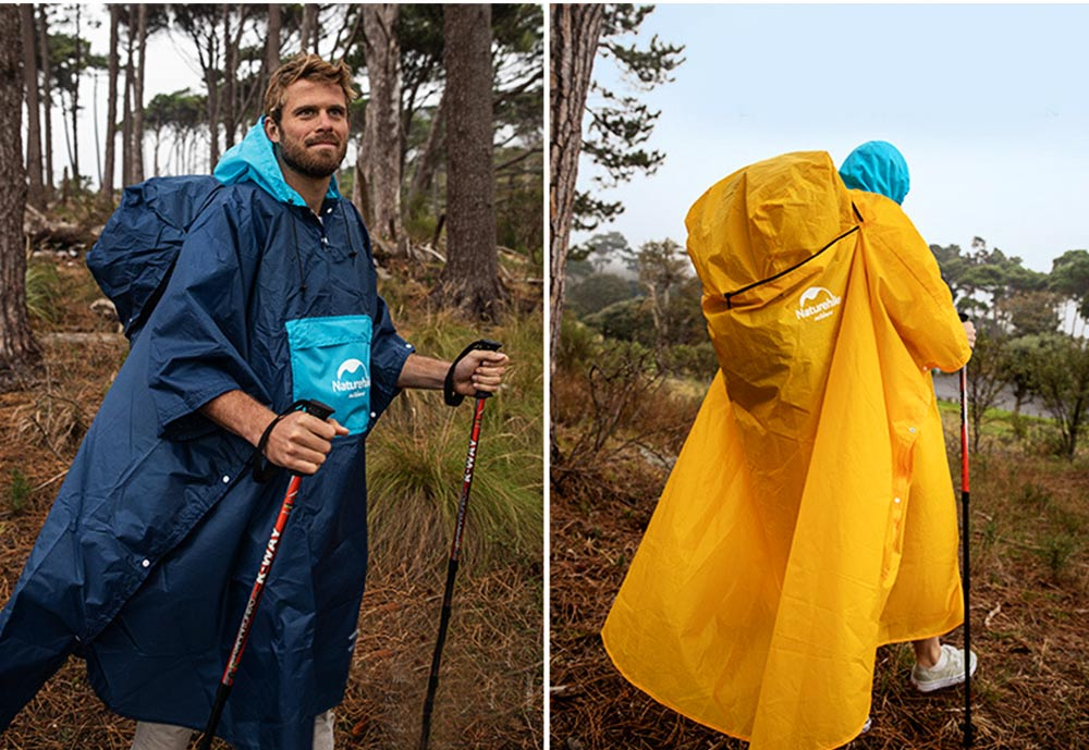 Color Stitching Raincoat for Adults, Portable Hiking Poncho with Hood & Sleeves, Outdoors Ultralight Raincoat 2