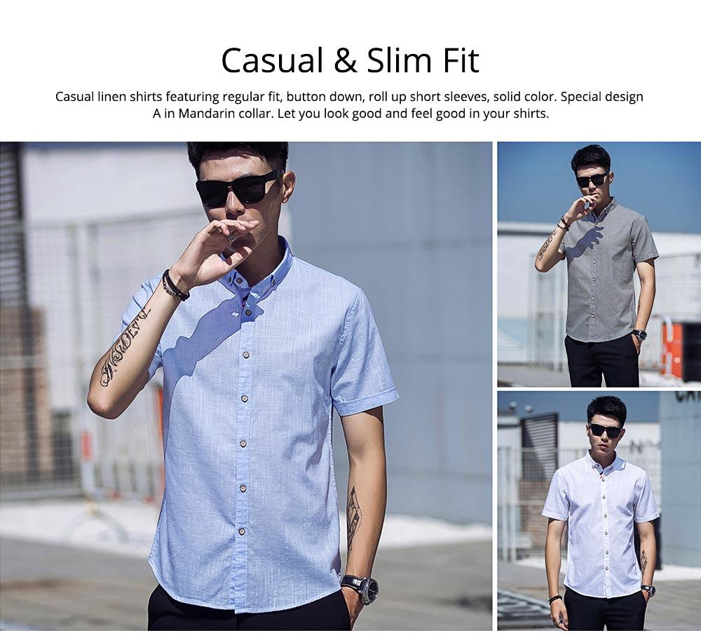 Mens Linen Shirt Short Sleeve Banded Collar Casual Shirts Regular Fit Button Down T-shirts 1