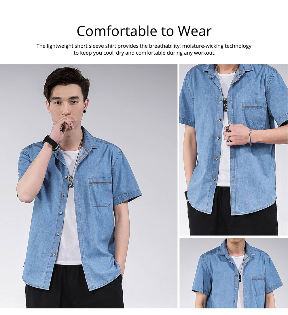 Men's Short Sleeve Shirts Casual Button Down Western Vintage Denim Shirt Cotton Loose Shirts 3