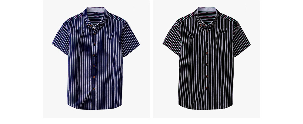 Short-Sleeve Stripe Shirt Men Casual Button Down Cotton Loose Shirts Quick-drying T-shirts Gifts for Men 9