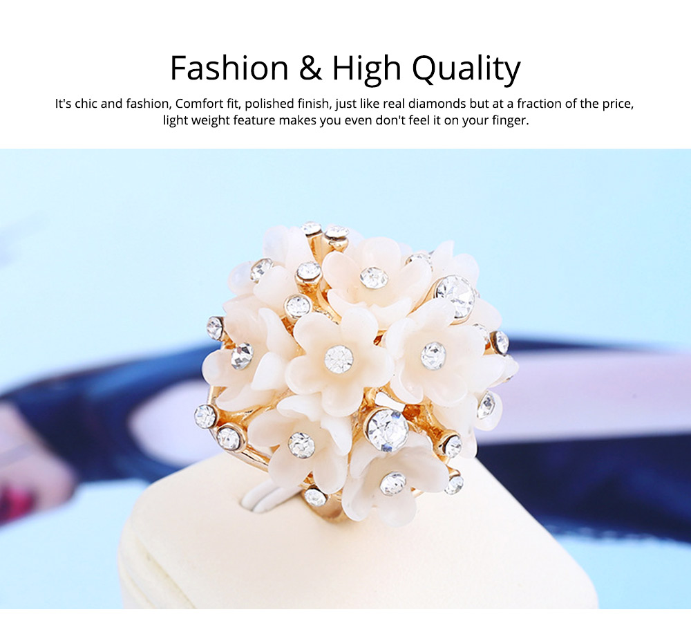 Women's Flower Index Finger Ring Adjustable Opening Aluminum Alloy Rhinestone Rings Women Fashion Jewelry Best Gifts for Girl Lady 1