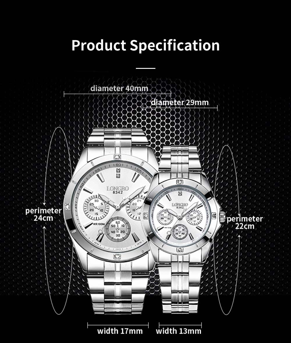 Waterproof 30M Couple Quartz Watch with Steel Band for Men & Women, Quartz Watch for Lovers 7
