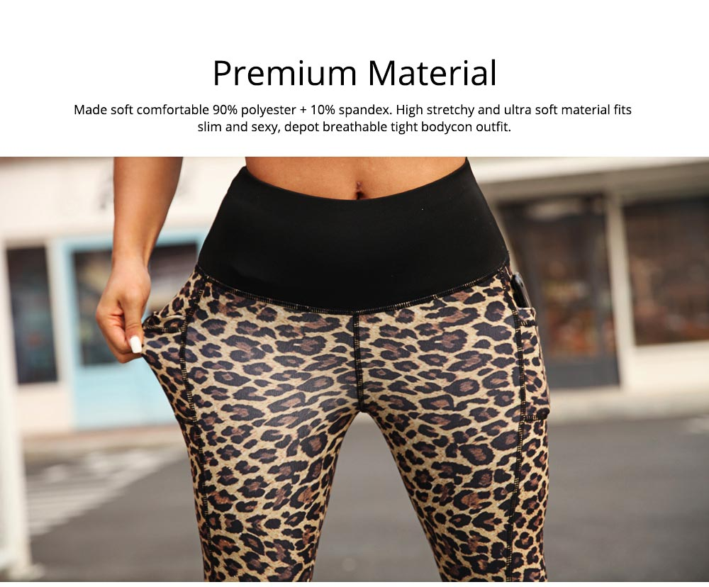 Women's Yoga Pants Tummy Control Butt Lift-up High Waisted Workout Leggings Leopard Print Cropped Pencil Pant 3