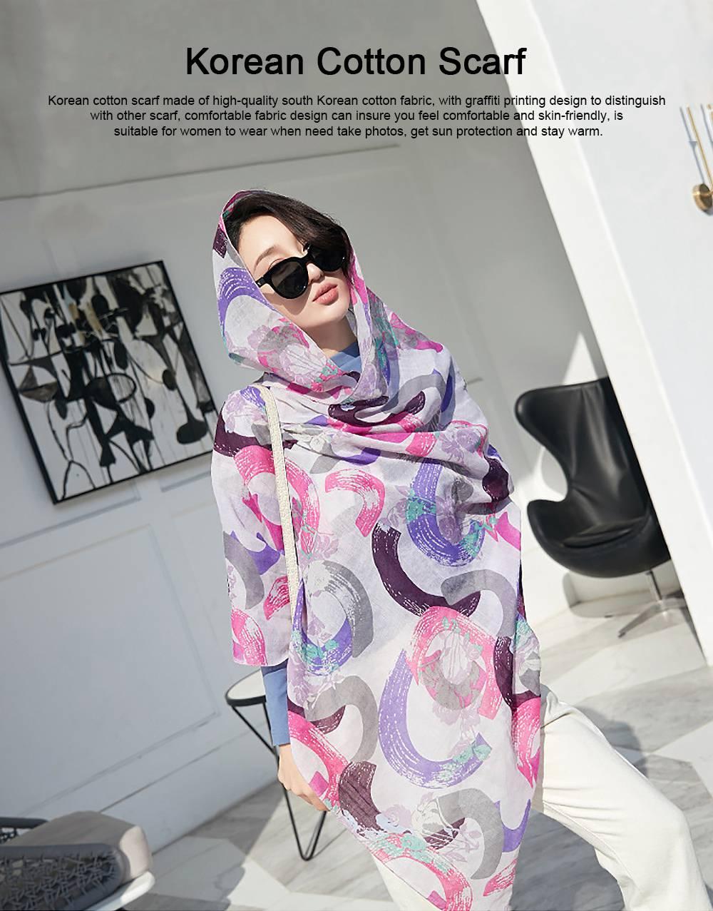 Korean Cotton Scarf for Women, Graffiti Pattern Larger Size Shawl, Multi-function Wide Range Printing Scarf 0