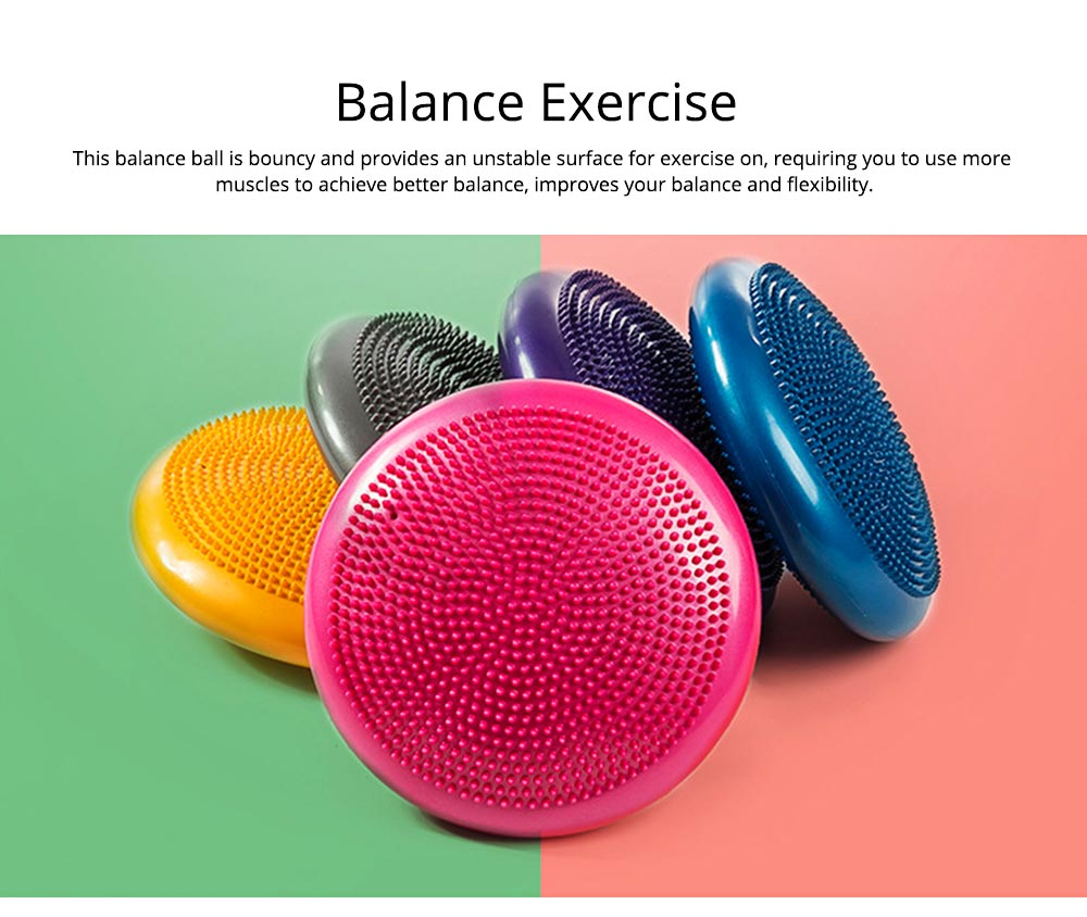 Yoga Balance Disc Extra Thick Inflatable Exercise Fitness Stability Wobble Cushion with Inflator for Training Physical Therapy 2