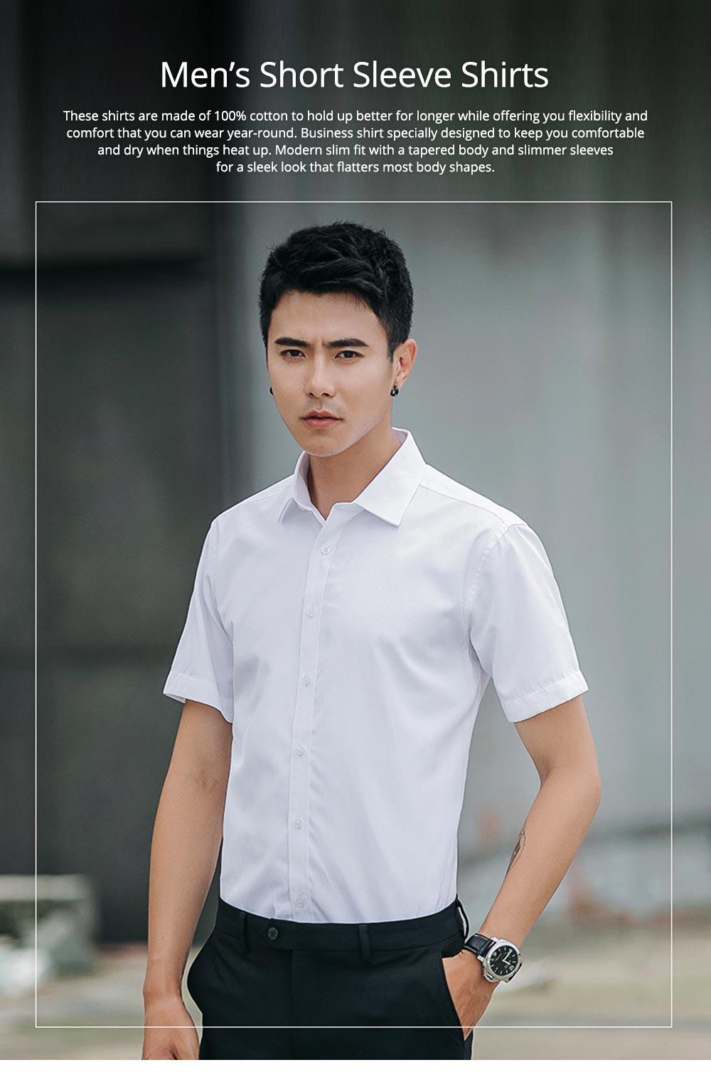 Men's Short Sleeve Shirts with Regular Fit Formal Business Cotton Solid Shirt Classic Slim Fit Flex Collar Dress Shirt 0