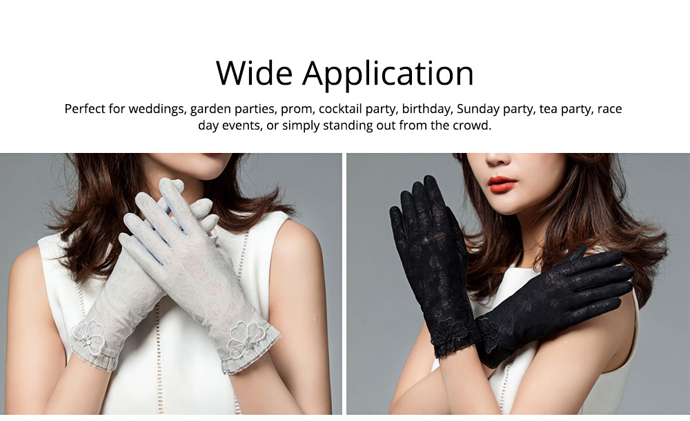 Summer Women Ice Silk Gloves Sun UV Protection Driving Gloves Lace Touchscreen Anti-skid Gloves for Lady Girl Gifts 5