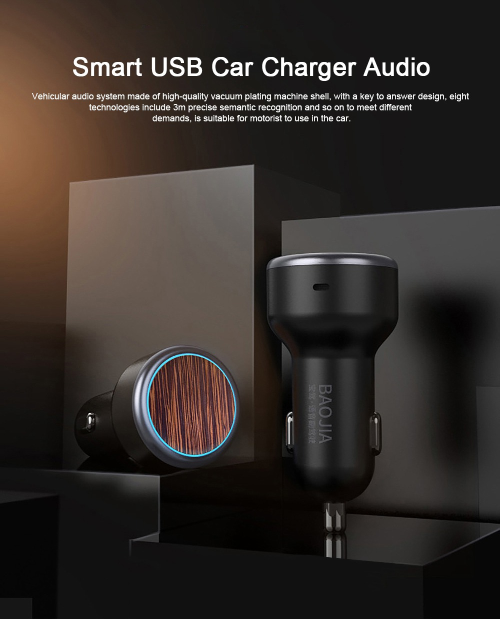 Vehicular Audio System for Motorist, Eight Technologies Ultra-high Tone Quality Car Charger Interactive A Key to Answer Intelligent MP3 0