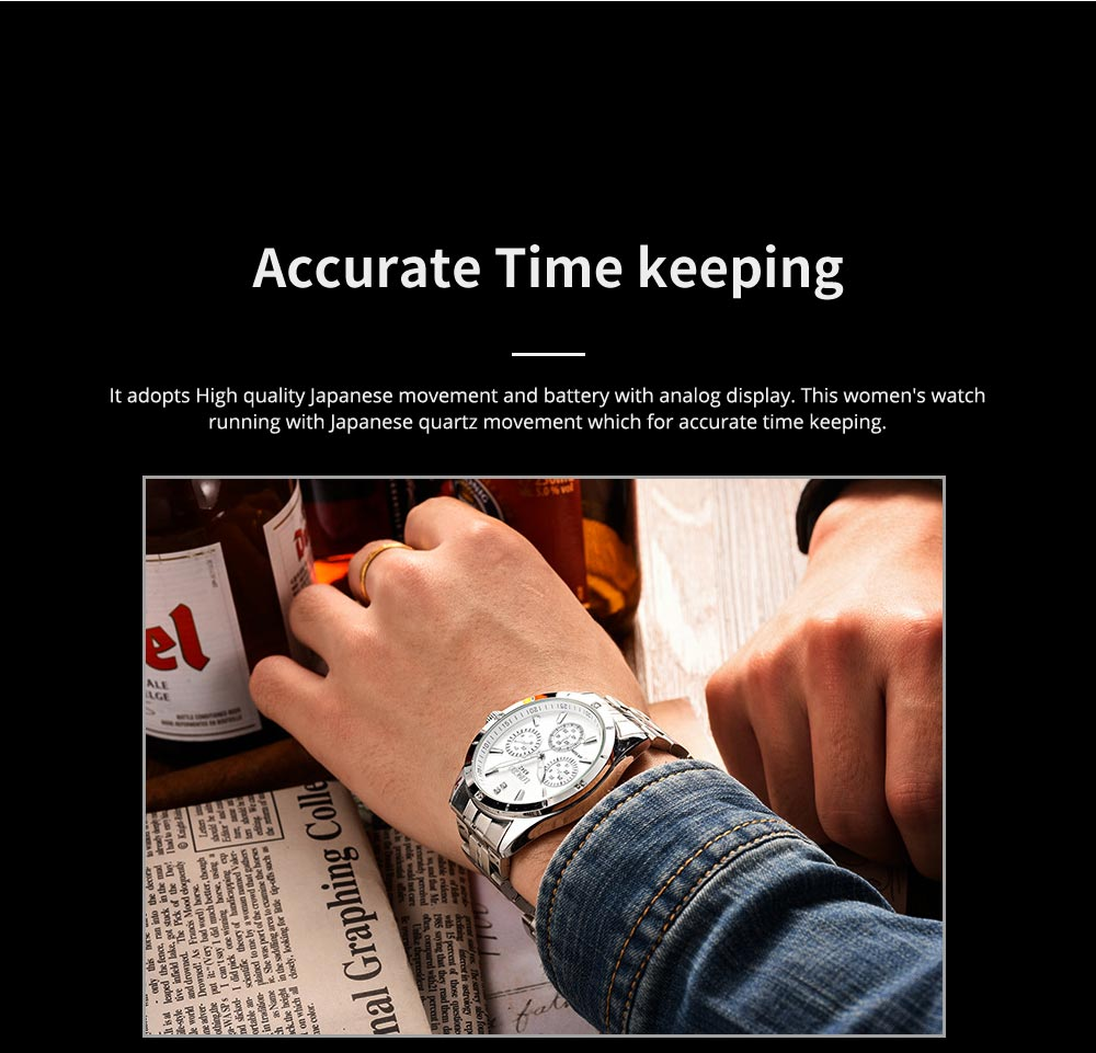 Waterproof 30M Couple Quartz Watch with Steel Band for Men & Women, Quartz Watch for Lovers 3