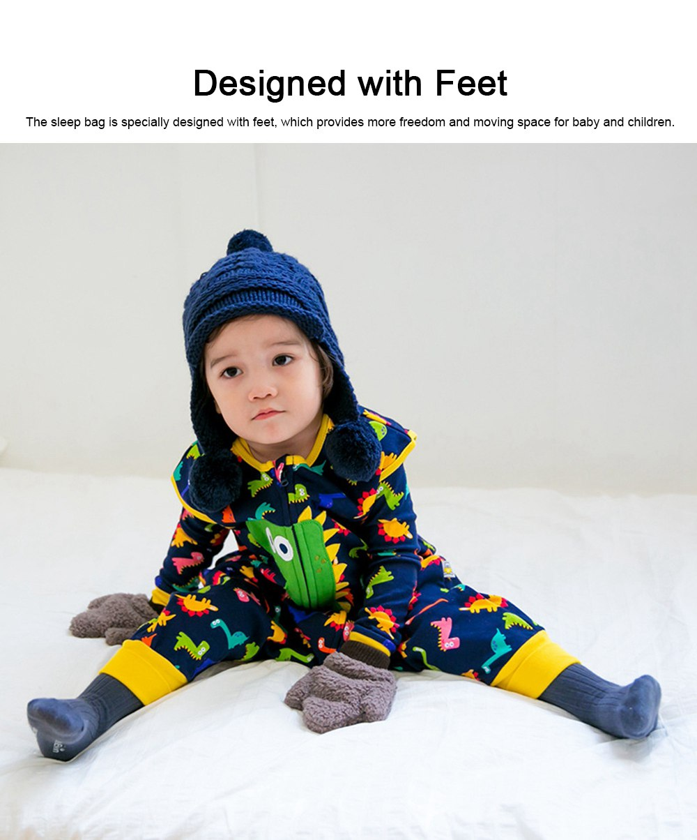 Baby Sleeping Bag with Feet, Pure Cotton Snooze Bag for Children & Kids 0-7 Years Oldl for Spring & Autumn 1