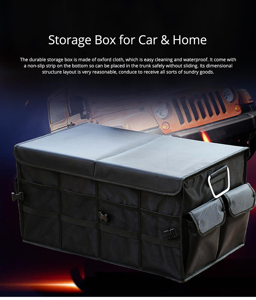 Durable Storage Box for Car & Home, Foldable Utility Box for Car, Vehicle-mounted Non-slip Bottom Sorting Box L S Size 0