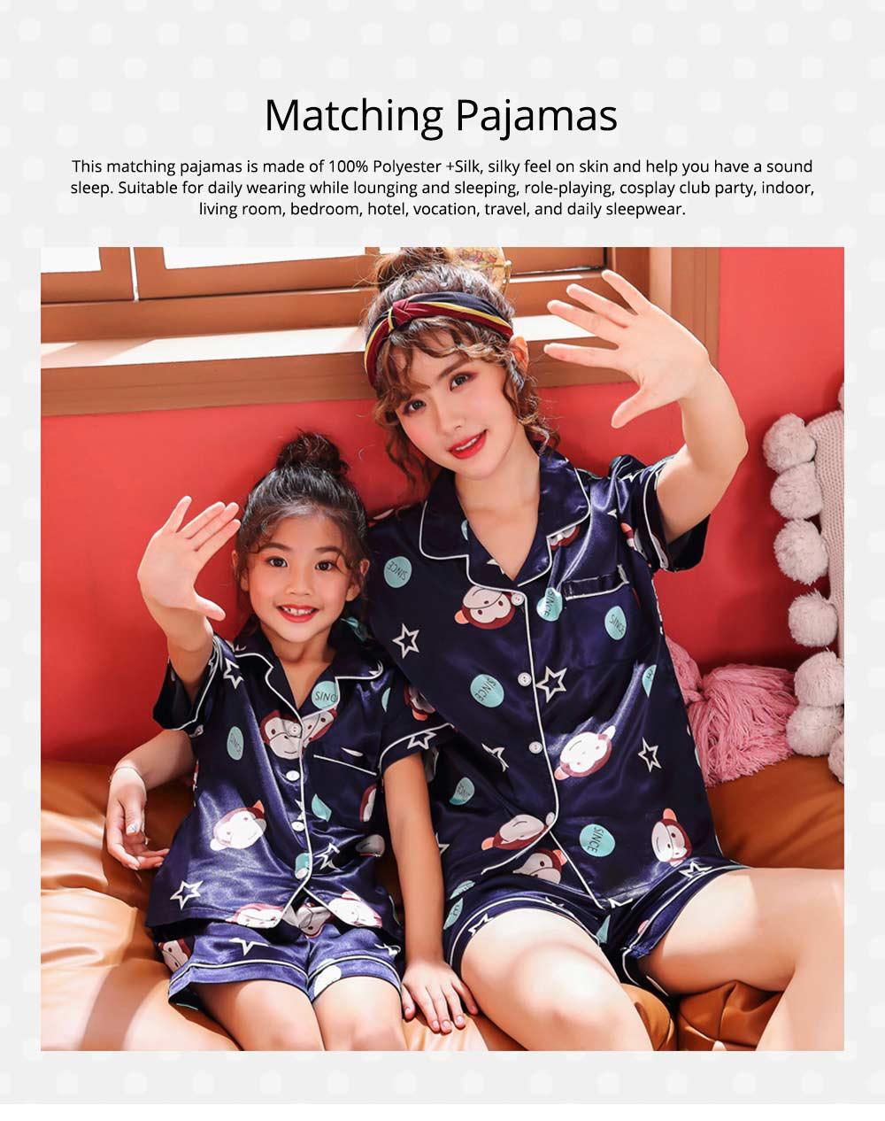 Casual Mother Daughter Pajamas Matching Comfortable Ice Silk Satin Pajama Set with Shirt and Short Pant 0
