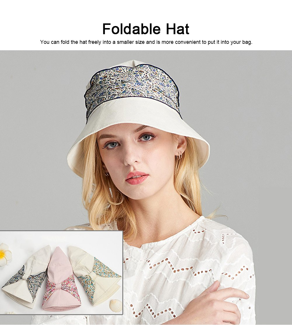 Spring Summer Bucket Hat Foldable Sunbonnet for Women Beach Sea Outdoor Activities Sun-proof Sun Hat 5