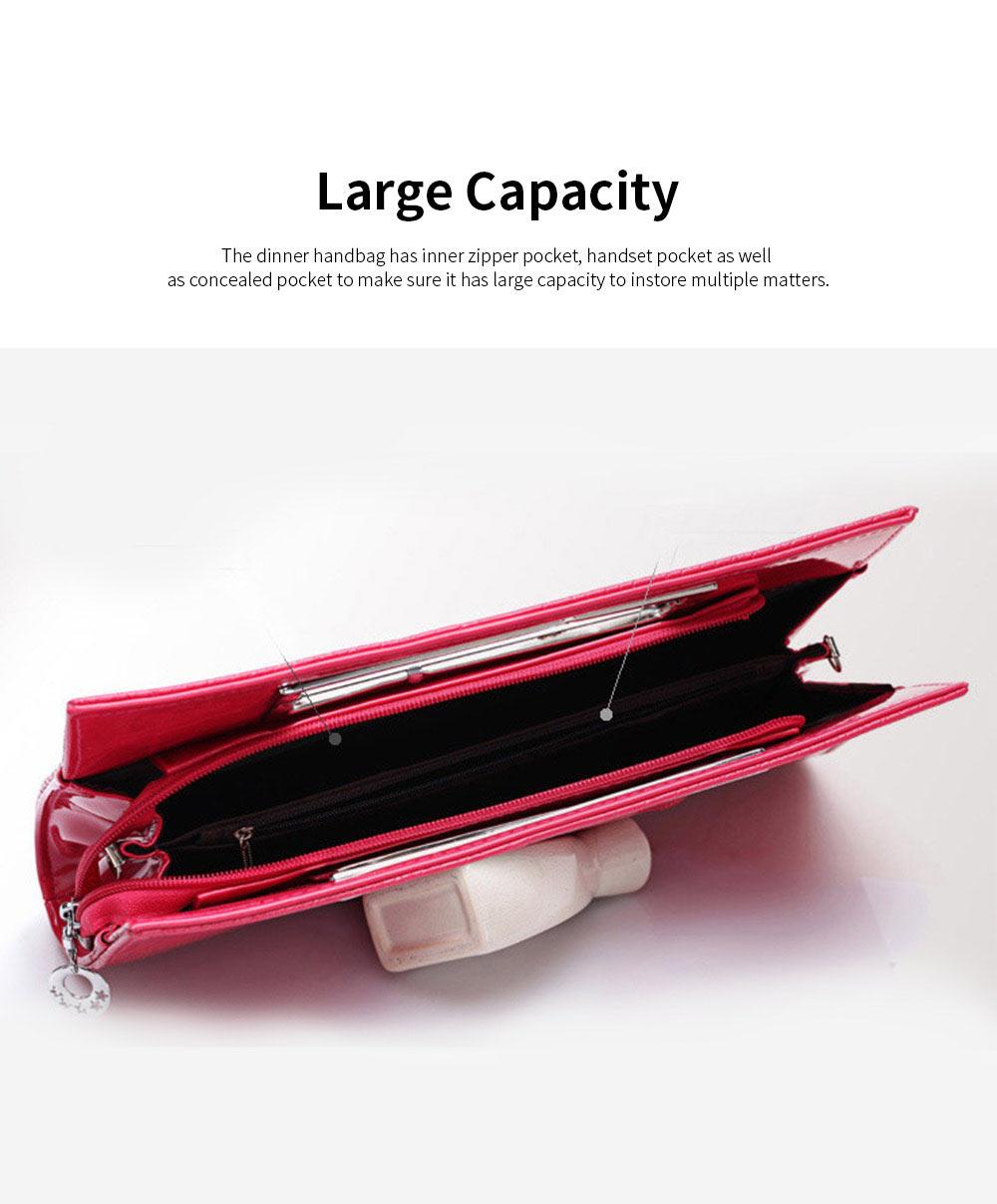 Women Evening Bag Casual PU Leather Dinner Bag with Removable Handle Zipper Pocket Durable Wear Resistant Concealed Pocket Crocodile Pattern Handbag 5