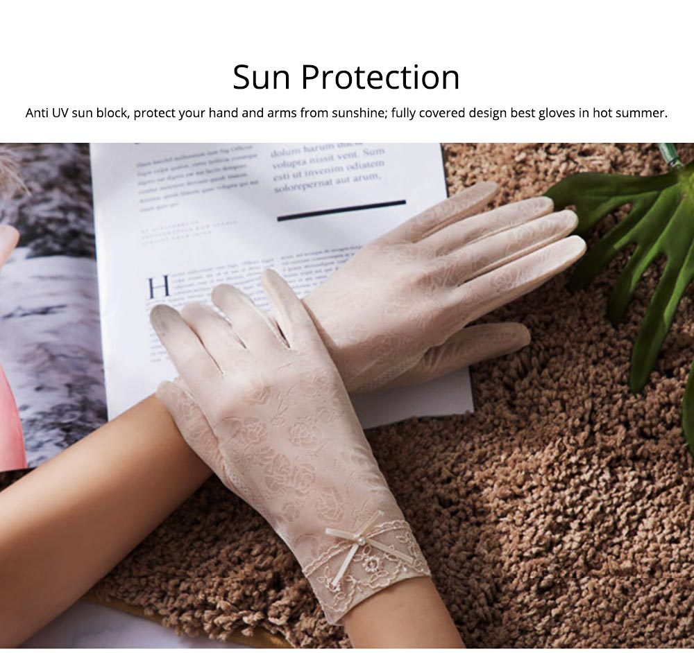 Summer Women Ice Silk Gloves Sun UV Protection Driving Gloves Lace Touchscreen Anti-skid Gloves for Lady Girl Gifts 2