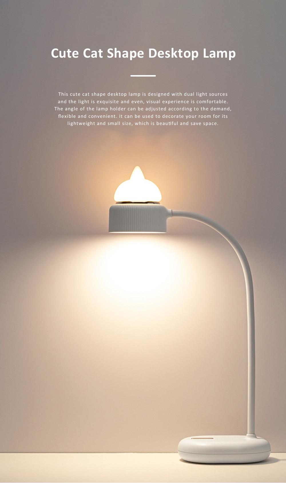 Cute Cat Shape Desktop Lamp USB Charging Bedside Reading Lamp Rechargeable Eye Protected Lamp 0