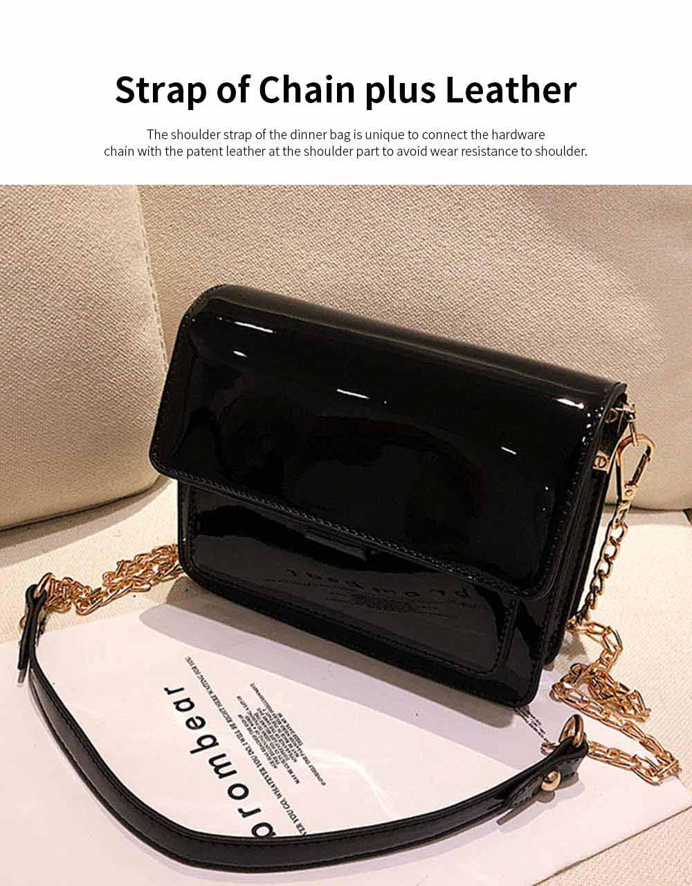 Enameled Leather Women's Dinner Bag with Single Metal Chain Shoulder Strap Hard Antiwear Large Capacity Evening Handbag for Women 5