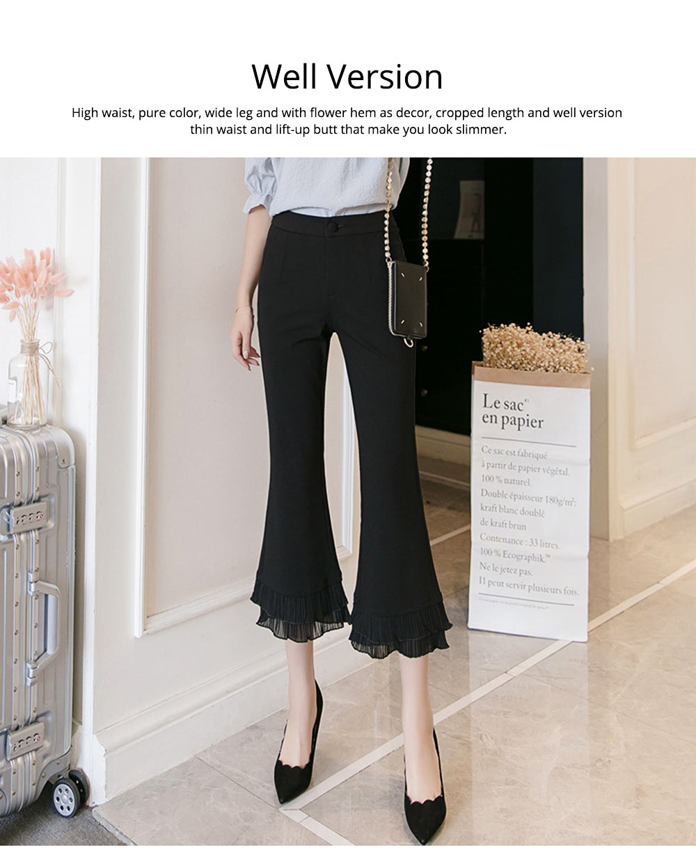 Women Flare Bottoms Mid Waisted Wide Leg Chiffon Palazzo Pants with Pocket Capris Leggings Bell-bottom Trousers 1