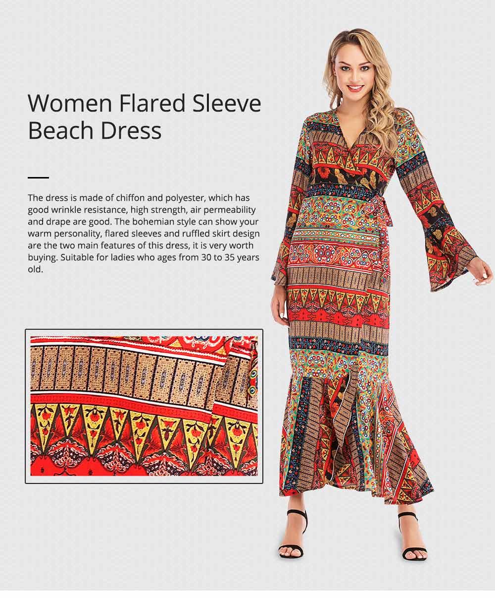 Flared Sleeve Beach Dress for Women, Women V-neck Chiffon Dress Ruffle Hem 0