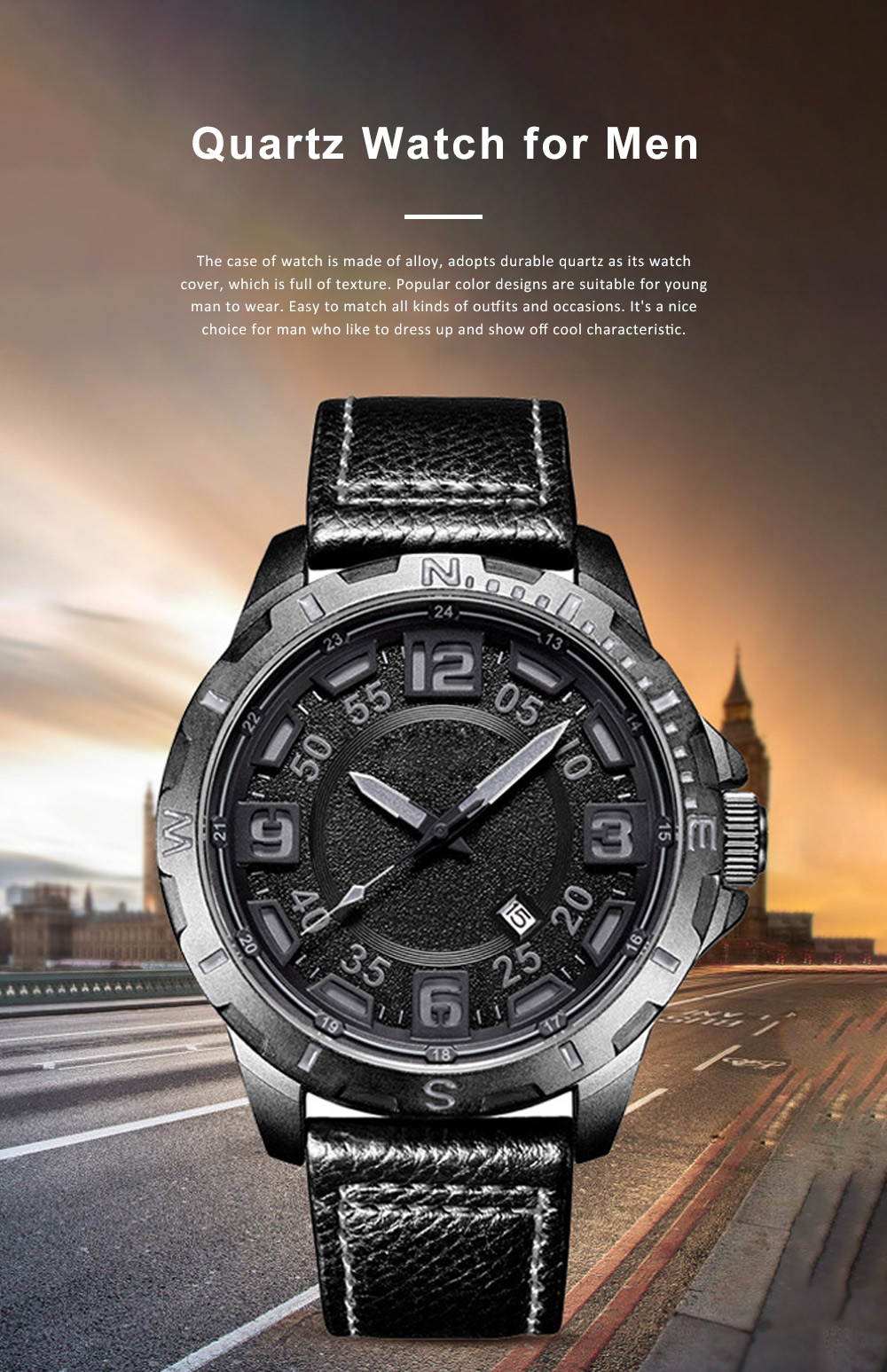 Casual Quartz Watch for Men Waterproof Quartz Watch With Stainless Steel Clasp Watch Leather Wrist Strap 0