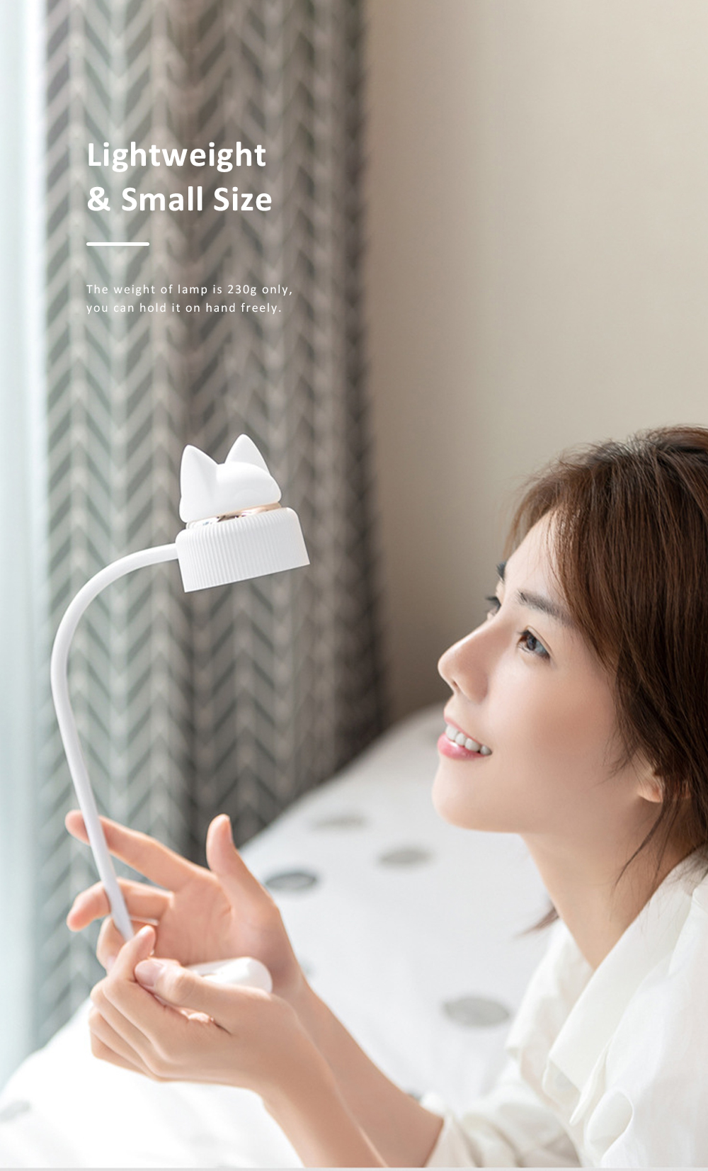 Cute Cat Shape Desktop Lamp USB Charging Bedside Reading Lamp Rechargeable Eye Protected Lamp 4