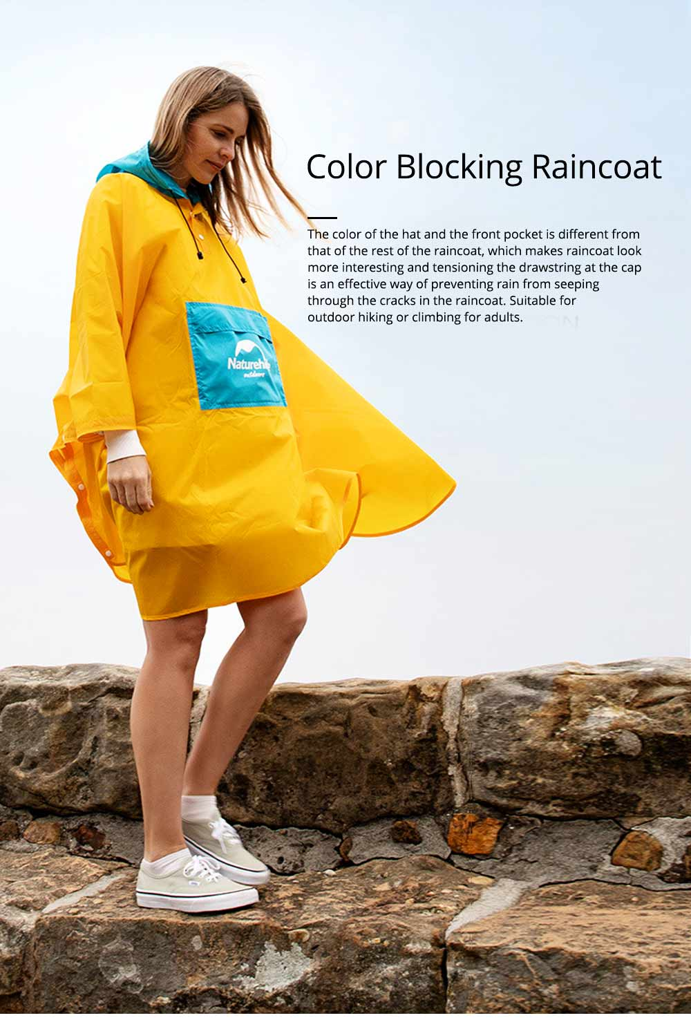Color Stitching Raincoat for Adults, Portable Hiking Poncho with Hood & Sleeves, Outdoors Ultralight Raincoat 0