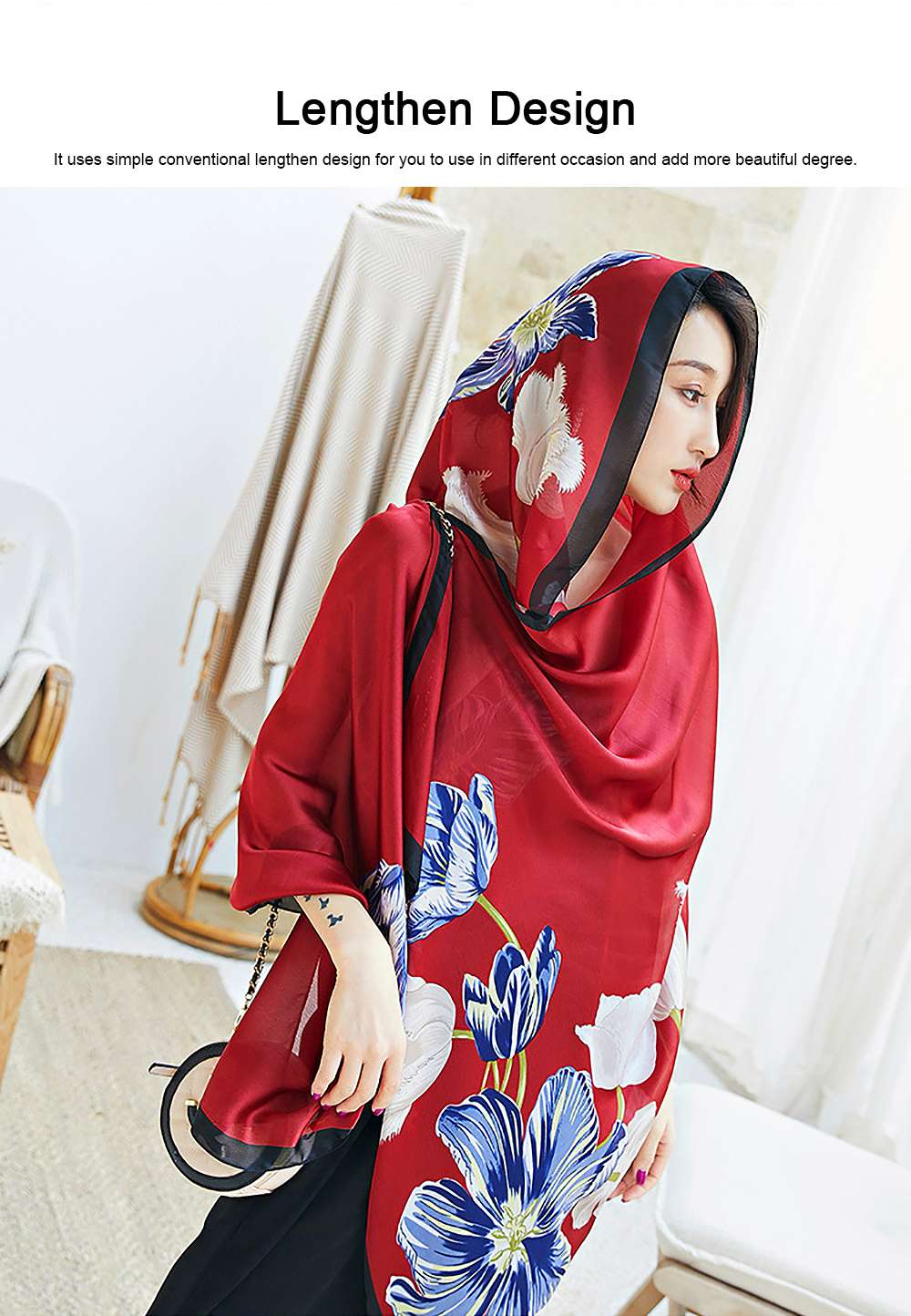 Imitation Silk Scarf for Women Chinese Style Square Shape Suitable for Many Occasions Shawl, Wide Range Scarves 1