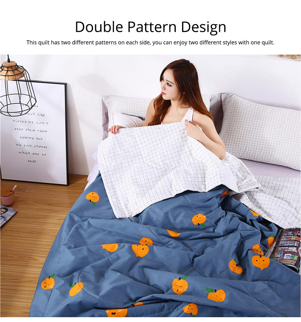 Washable Quilt for Summer Breathable Air Conditioning Quilt, Cotton Printed Quilt for Two Person 4