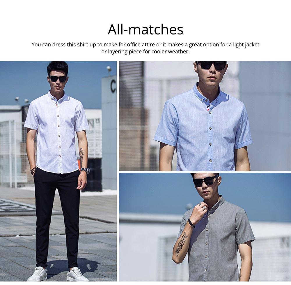 Mens Linen Shirt Short Sleeve Banded Collar Casual Shirts Regular Fit Button Down T-shirts 6