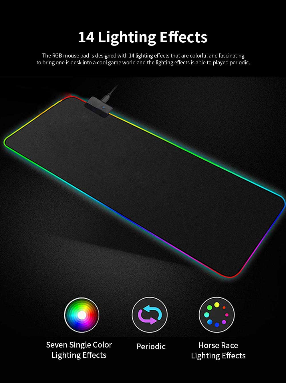 RGB Mouse Pad with Light Stripe Fine Textured and Thickened Skip-free Rubber Reverse Side Mouse Mat Computer Accessory Mousepad 3