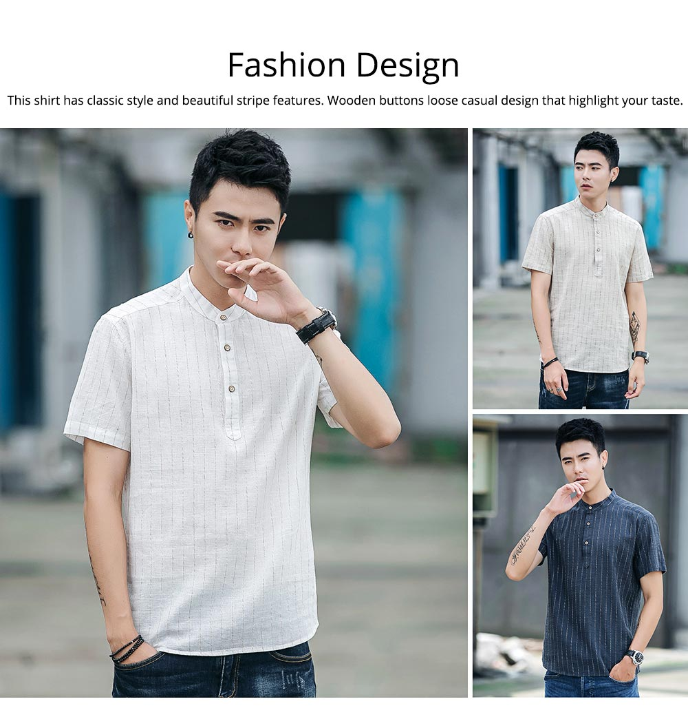 Men's Pure Color T-Shirts Stripe Short Sleeve Shirt Fashion Loose Casual Quick-Dry T-Shirt for Men 2