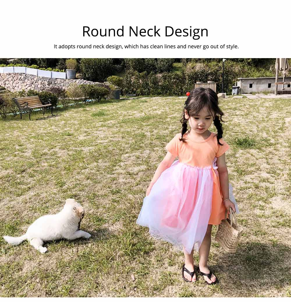 Hollow-back Dress for Girls, Tulle Skirt Patchwork Dress, Short Sleeves Dress for 3- 8 Years Girl 1