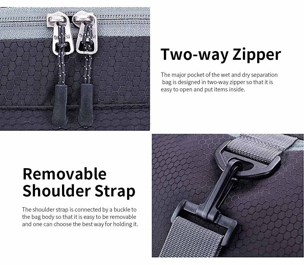 Nylon Oxford Wet and Dry Separation Bag with Two-way Zipper Major Pocket Durable Waterproof Separate Shoe Pocket Unisex Travelling Bag Large Capacity Valise Storage Bag 6