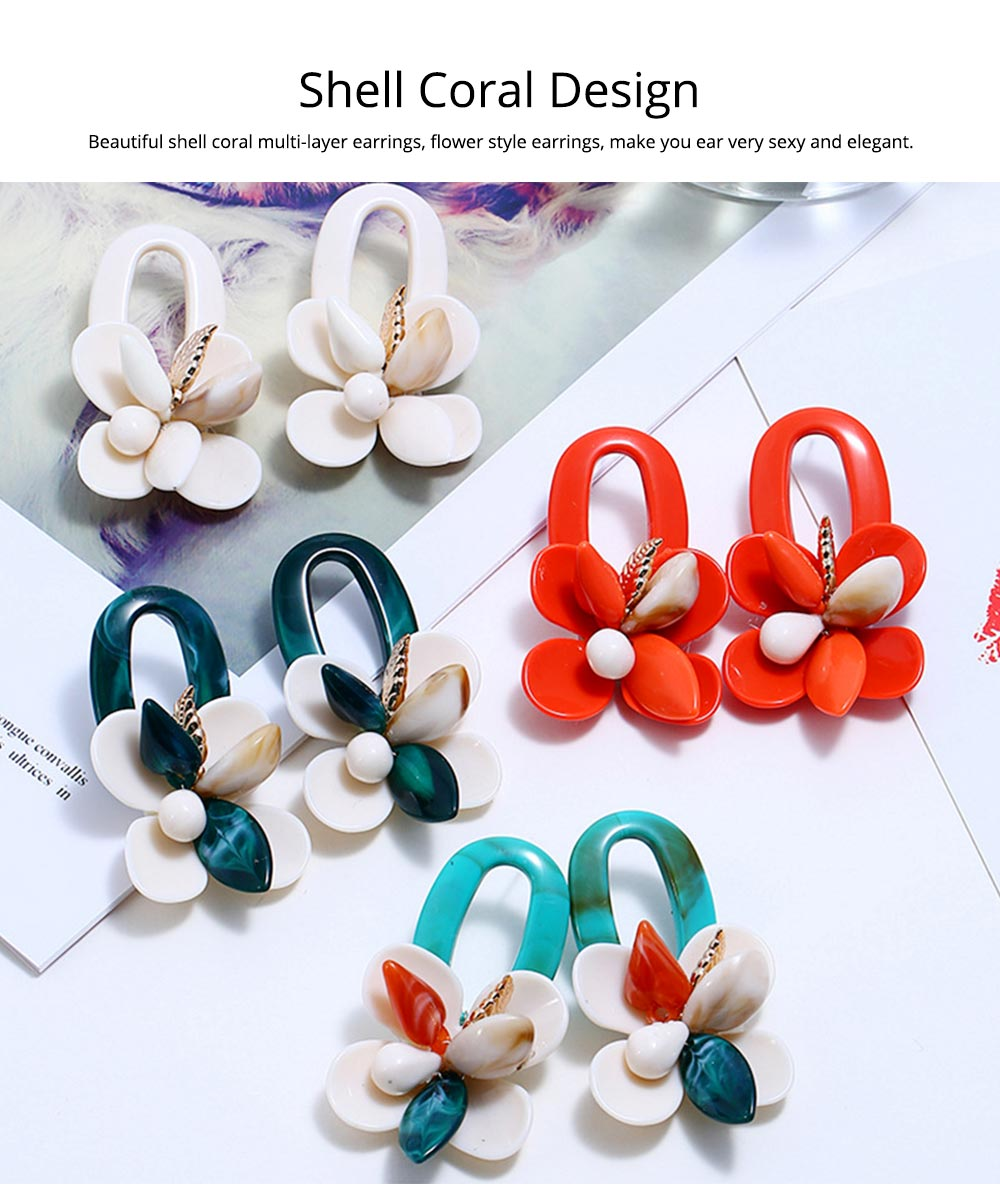 Retro Exaggerated Earrings Shell Coral Multilayer Earrings Acrylic Hoop Pendants Gifts for Women 1