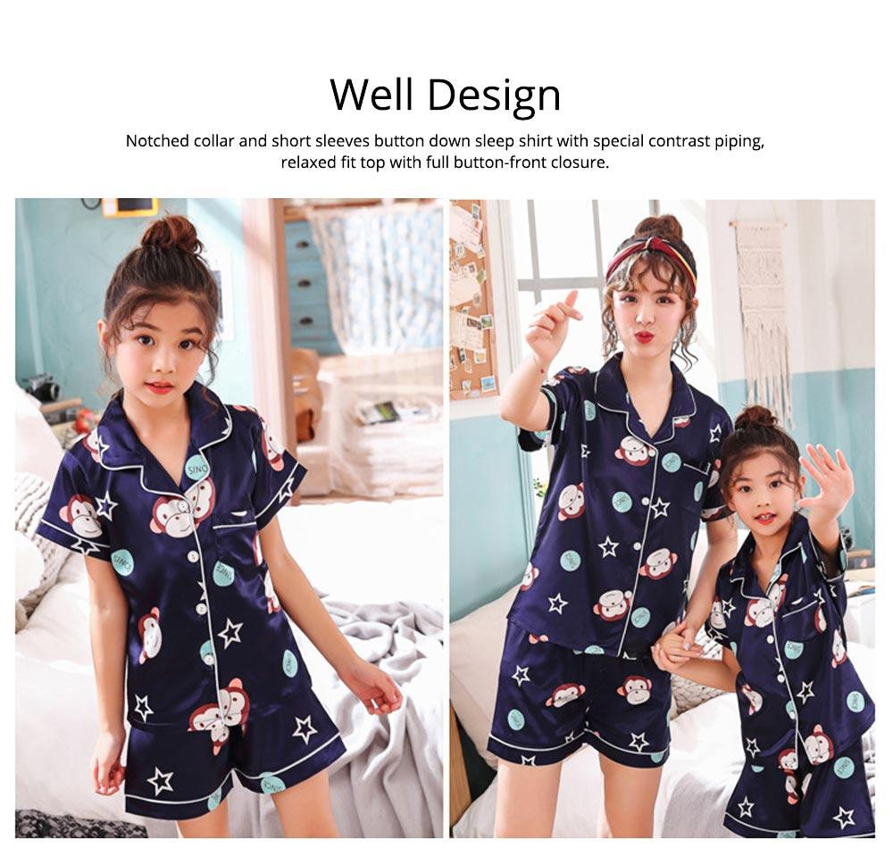 Casual Mother Daughter Pajamas Matching Comfortable Ice Silk Satin Pajama Set with Shirt and Short Pant 2