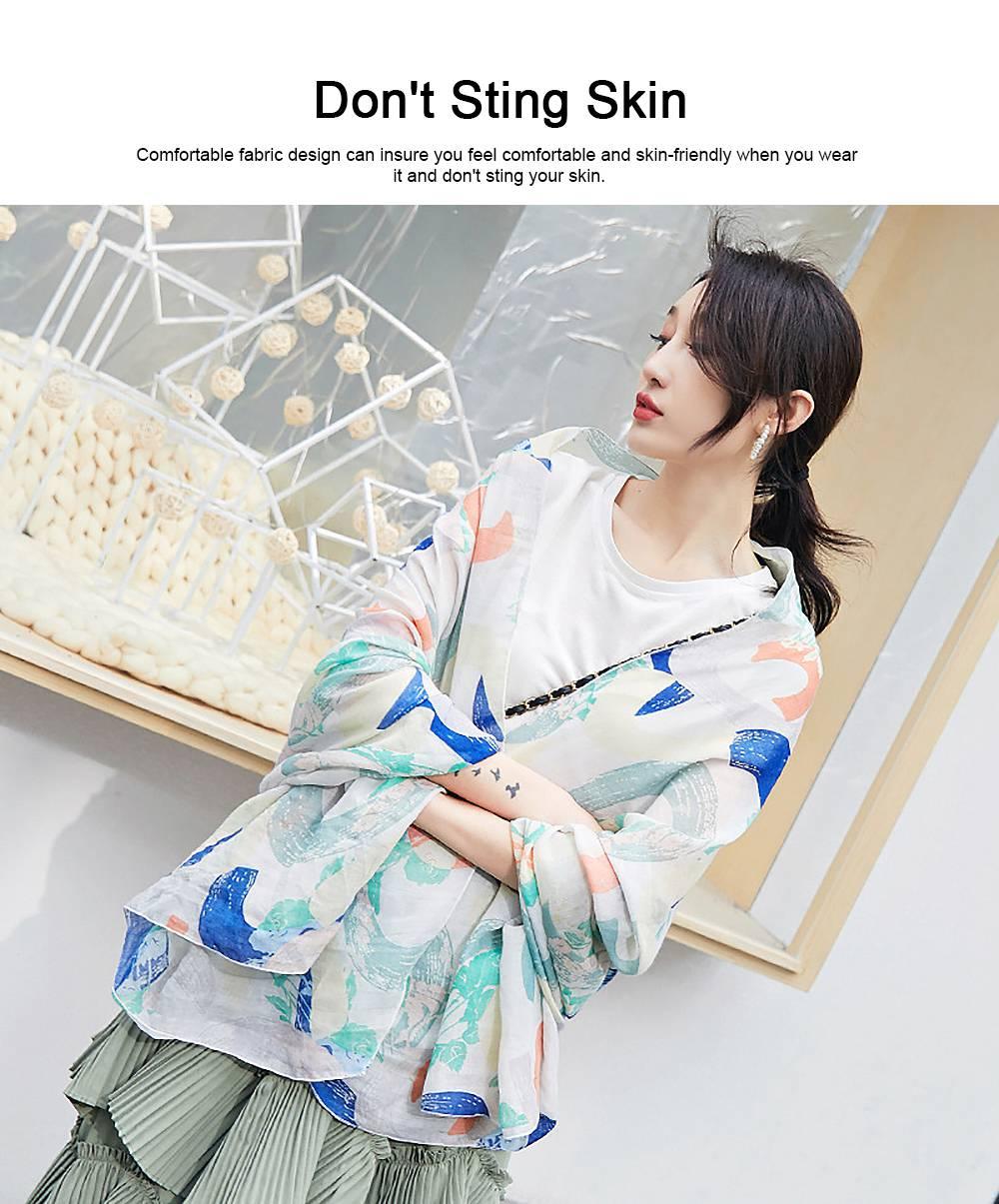 Korean Cotton Scarf for Women, Graffiti Pattern Larger Size Shawl, Multi-function Wide Range Printing Scarf 2
