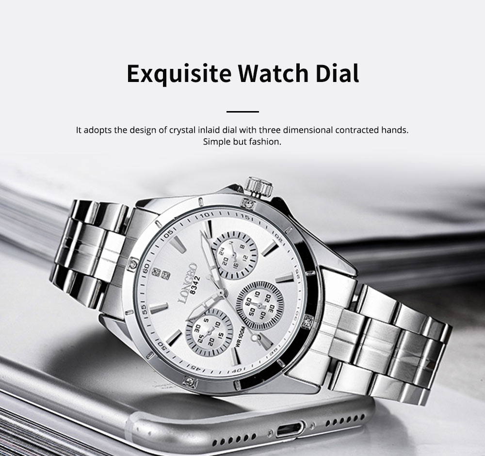 Waterproof 30M Couple Quartz Watch with Steel Band for Men & Women, Quartz Watch for Lovers 1