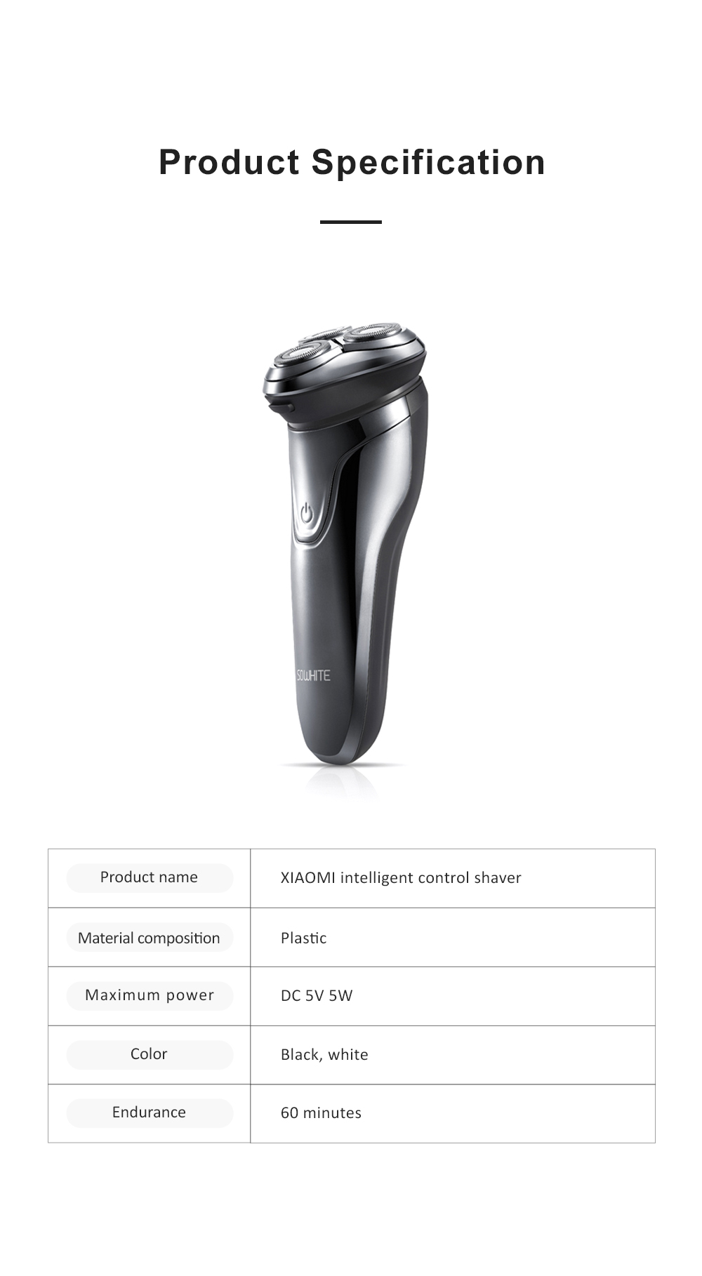 Intelligent Control Shaver Three-blade Reciprocating Electric Razor 3D Floating Razor Rechargeable Electric Shaver 11
