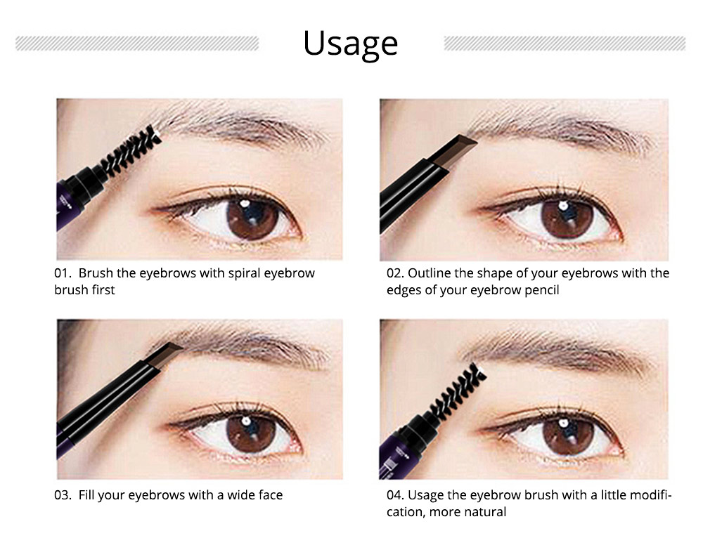 Double-Head Rotated Eyebrow Pencil, Eyebrow Pencil with a Brush 4 Colors Available 8