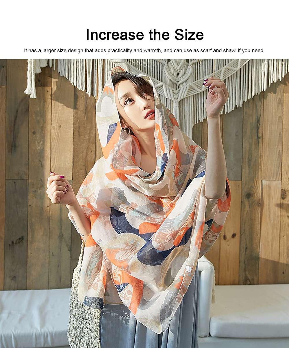 Korean Cotton Scarf for Women, Graffiti Pattern Larger Size Shawl, Multi-function Wide Range Printing Scarf 3