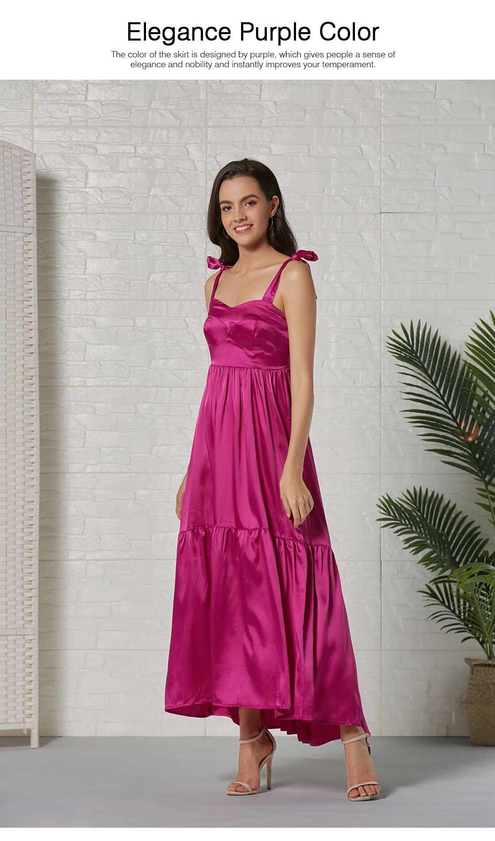 Lady Bohemian Dress Satin Flapper Hem Petticoat Binding Non-sleeve Long Purple Skirt Spring Summer for Women 1