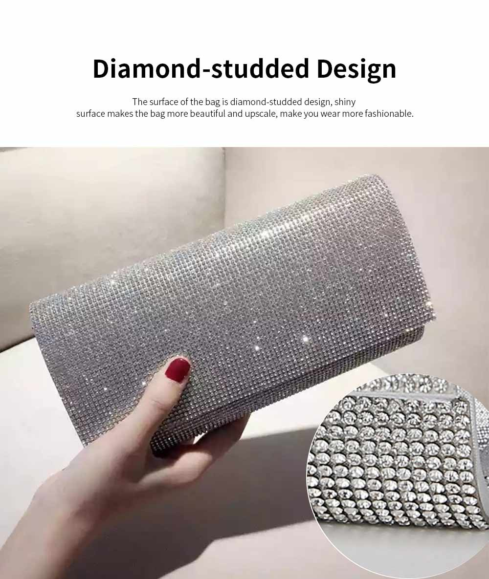 Clutch PU Diamond-studded Material Shiny Surface Long Style Handbag for Dinner Party Women Fashionable Evening Bag 2