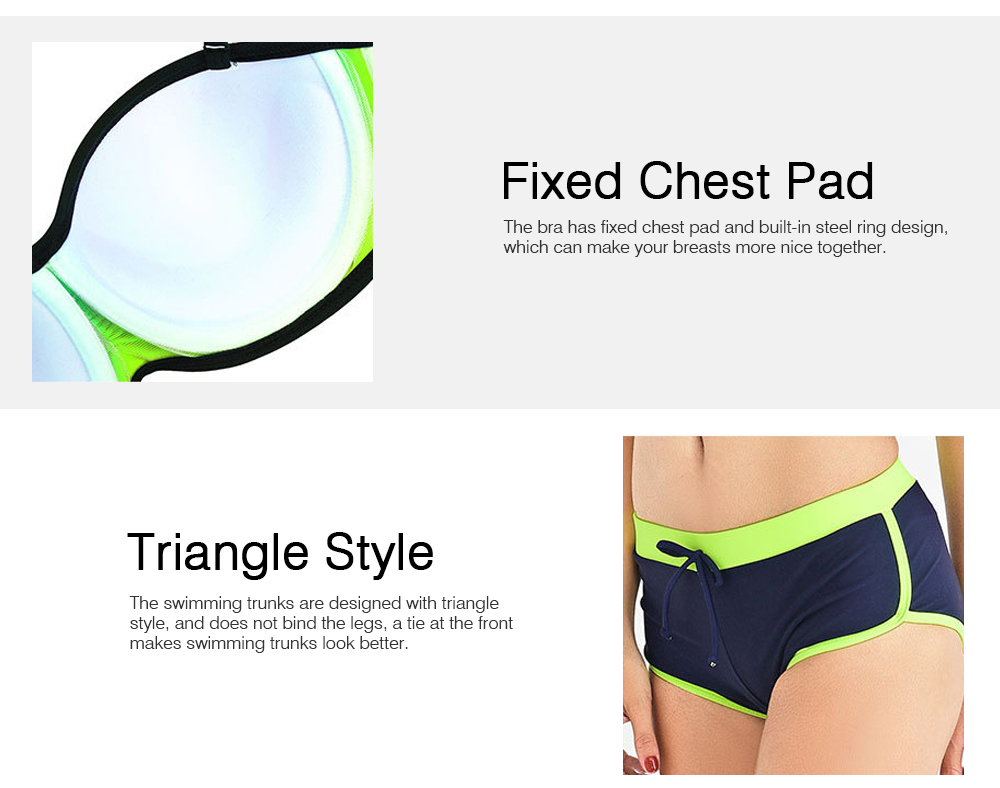Two Pieces Sexy Bathing Suits Swimsuit Spandex Chinlon Slim Thin Briefs for Women Bikini Breathable Swimwear Set 2