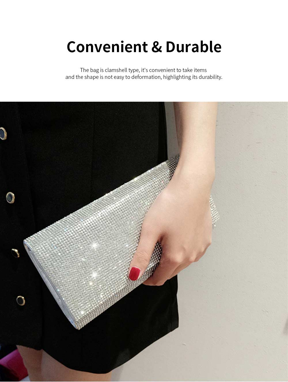 Clutch PU Diamond-studded Material Shiny Surface Long Style Handbag for Dinner Party Women Fashionable Evening Bag 4