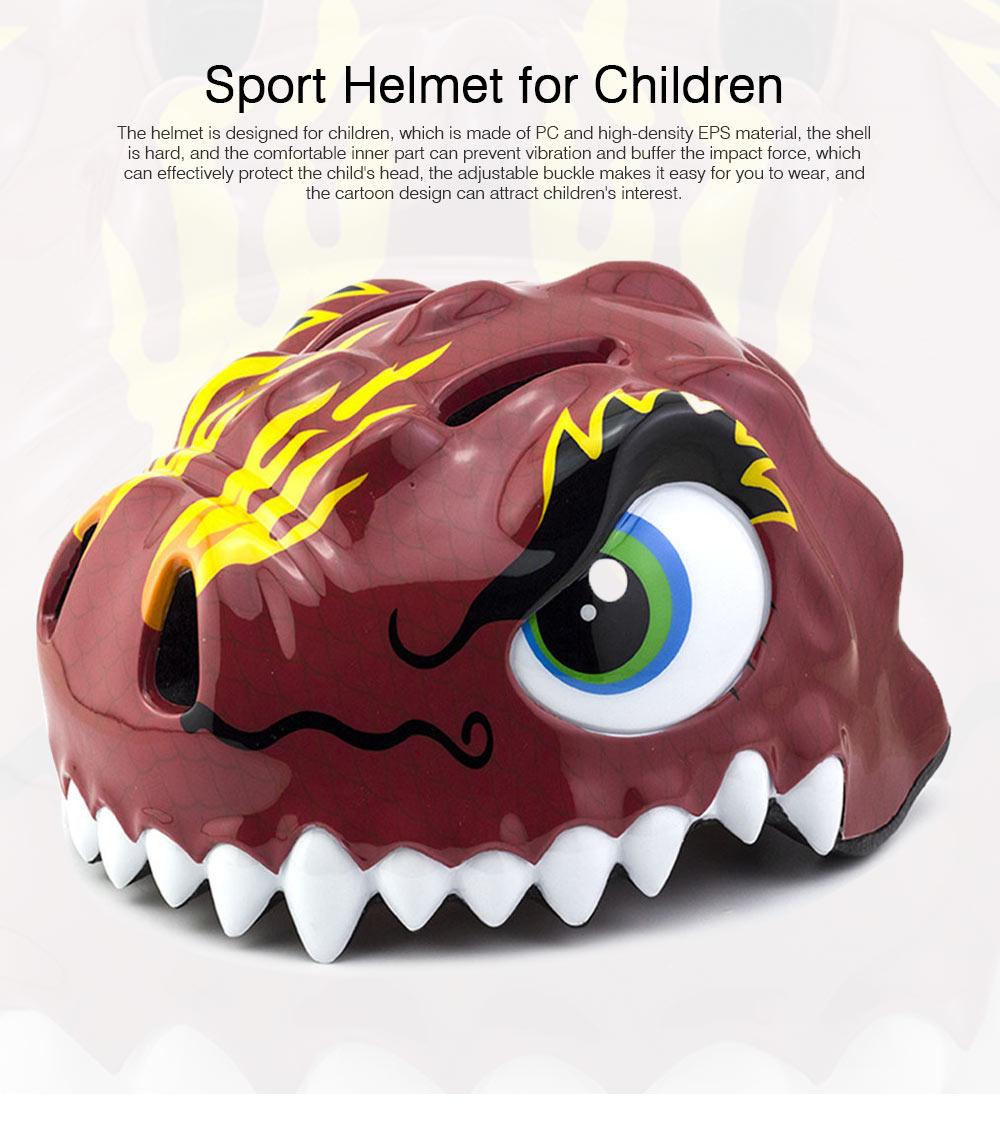 Kids Dinosaur Helmet Adjustable Buckle Headpiece Cartoon Shape Safe Cap Comfortable Sport Helmet for Children 0