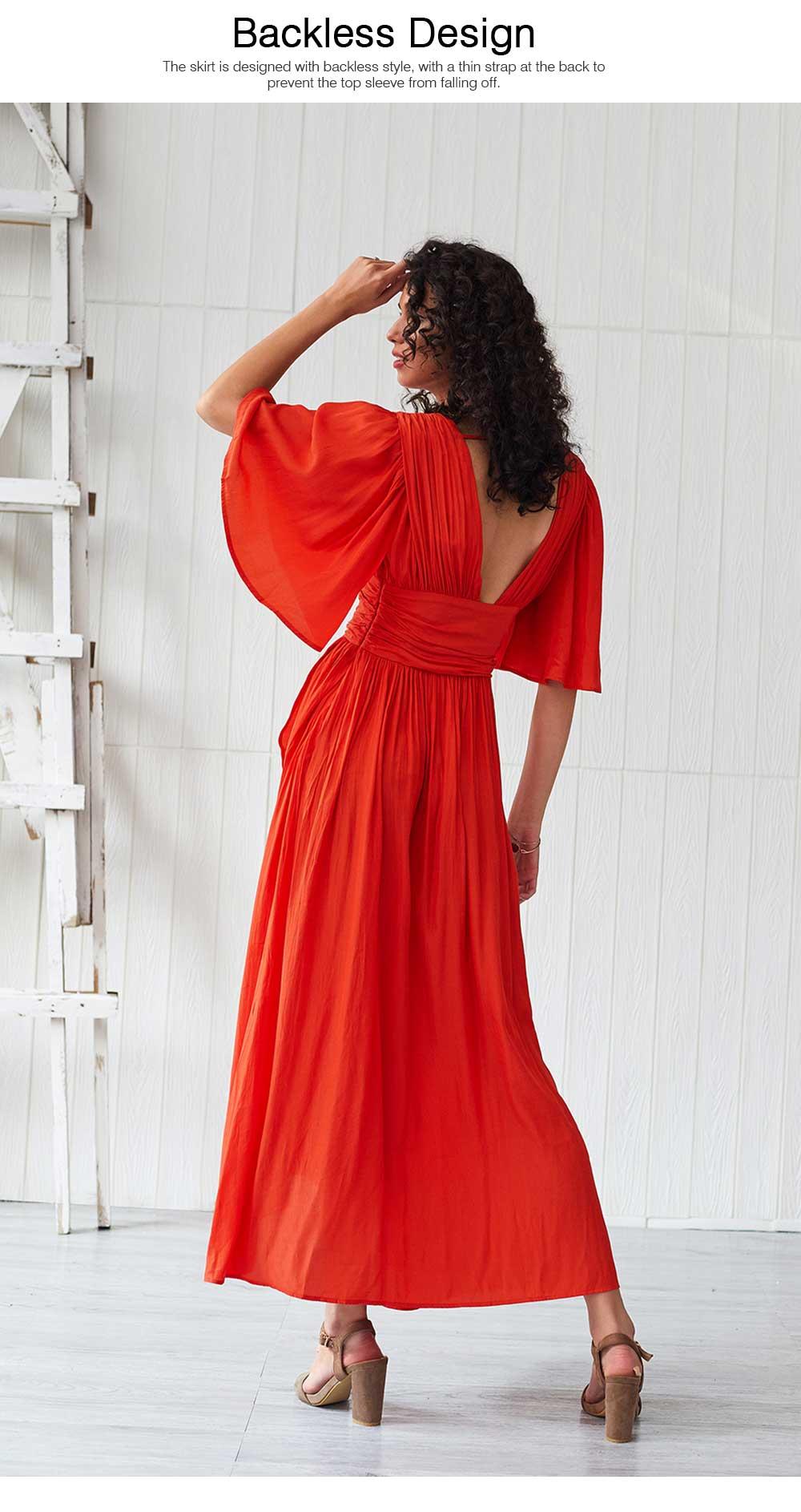 Deep V-neck Bohemian Dress Slim Waist Belt Irregular Style Orange Skirt Maxi Dress Summer for Women 5